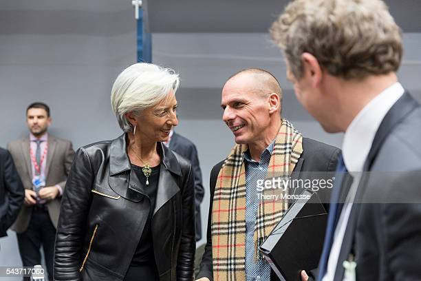 Brussels Belgium February 11 2015 International Monetary Fund managing director Christine Lagarde is talking with the Greek Finance Minister Yanis...