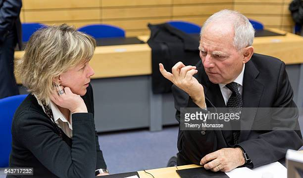 Brussels Belgium February 11 2015 Portuguese Finance Minister Maria Luis Albuquerque is talking with the German Finance Minister Wolfgang Schäuble...