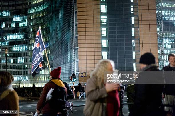 Brussels Belgium February 11 2015 Progovernment protesters gather in front of the EU Commission and the EU Council to back its demands of a bailout...