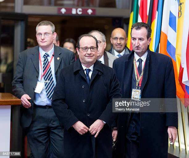 Brussels Belgium February 12 2015 French President Francois Hollande is talking to media at the end of an EU chief of state Summit in the EU Council...