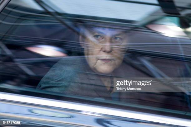 Brussels Belgium February 12 2015 German Chancellor Angela Merkel is arriving for an EU chief of state Summit in the EU Council headquarter