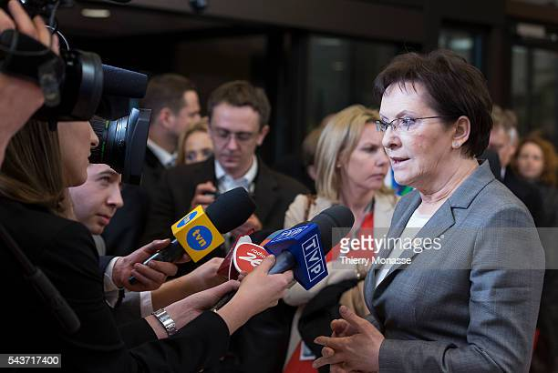 Brussels Belgium February 12 2015 Polish Prime Minister Ewa Kopacz is talking to media at the end of an EU chief of state Summit in the EU Council...