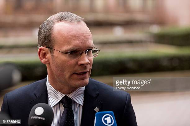 Brussels Belgium February 13 2013 Irish Minister for Agriculture Food the Marine President of the Council Simon COVENEY is talking to media as he...
