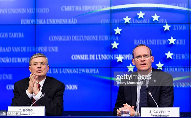 Brussels Belgium February 13 2013 Irish Minister for Agriculture Food the Marine President of the Council Simon COVENEY and the EU Health and...