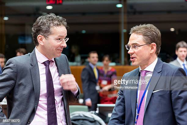 Brussels Belgium February 17 2015 Dutch Minister of Finance President of the Council Jeroen Dijsselbloem is talking with the EU Jobs Growth...