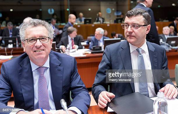 Brussels Belgium February 17 2015 Luxembourg Minister of Finance Treasury Budget Pierre Gramegna the Latvian Finance Minister Janis Reirs at the...