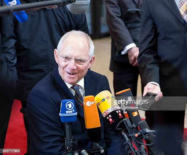 Brussels Belgium February 21 2015 German Finance Minister Wolfgang Schäuble is talking to media as he arrives for an extraordinary € group Ministers...