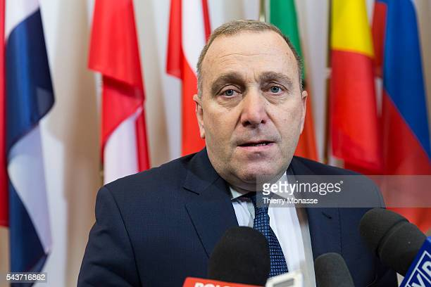 Brussels Belgium February 9 2015 Polish Minister of Foreign Affairs Grzegorz Juliusz Schetyna is talking to media prior an EU foreign affairs...