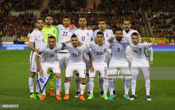 20170325 Brussels Belgium / Fifa WC 2018 Qualifying match Belgium vs Greece / 'nBack row Kostas MANOLAS Stefanos KAPINO Andreas SAMARIS Panagiotis...