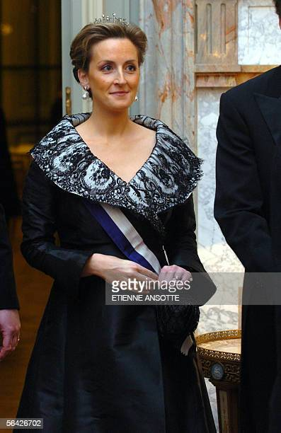 File picture of Princess Claire posing at the beginning of a Gala Dinner 18 October 2005 at the Royal Castle of Laeken / Laken near Brussels Princess...