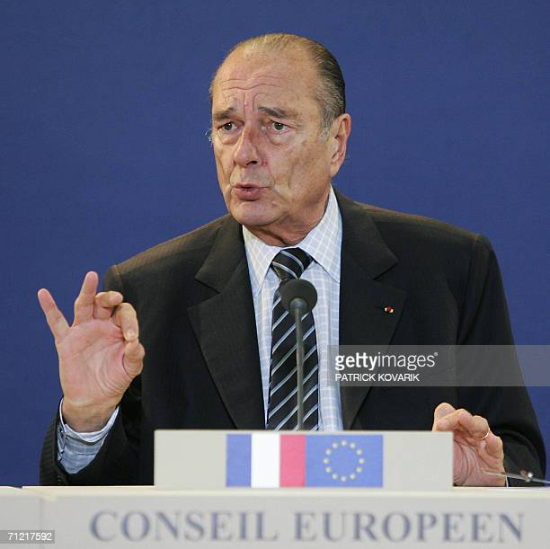 France's President Jacques Chirac gives a press conference at the end of a EU summit 16 June 2006, in Brussels. European Union leaders turned their...
