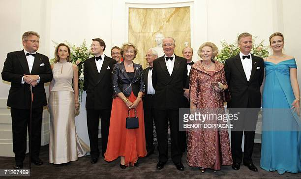 From left Belgium's Prince Laurent Princess Claire unidentified Queen Paola King Albert II Dutch Queen Beatrix Crown Prince Philippe and Princess...
