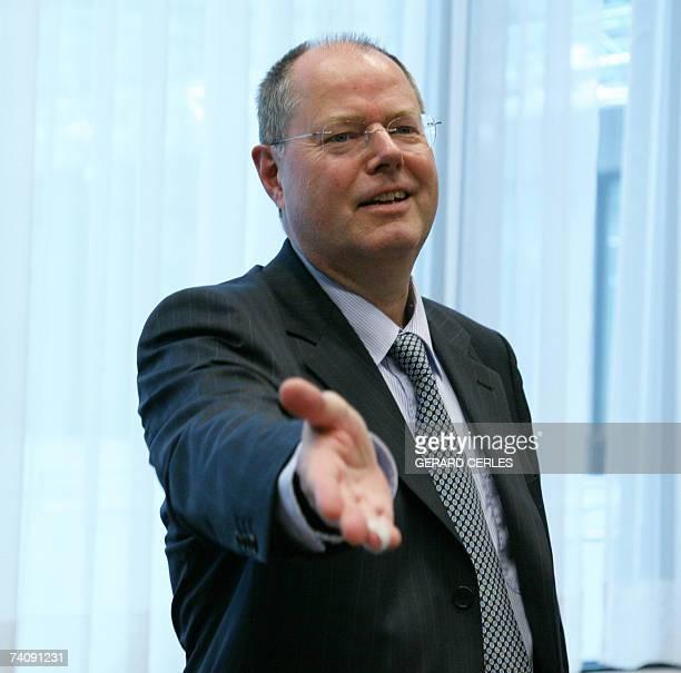 German Finance Minister Peer Steinbrueck gestures prior to the EUROGROUP meeting at the EU Headquarters in Brussels 07 May 2007 AFP PHOT/GERARD CERLES