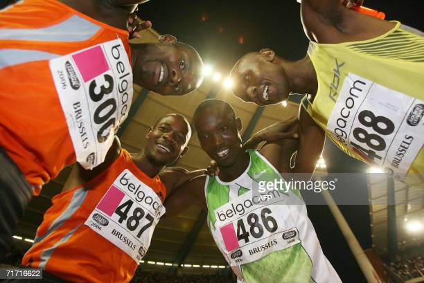 He Kenyan team of William Bungei, Joseph Mutua,Ismail Kombich and William Yiampoy celebrate a new world reccord for the 4x800m mens relay race in...