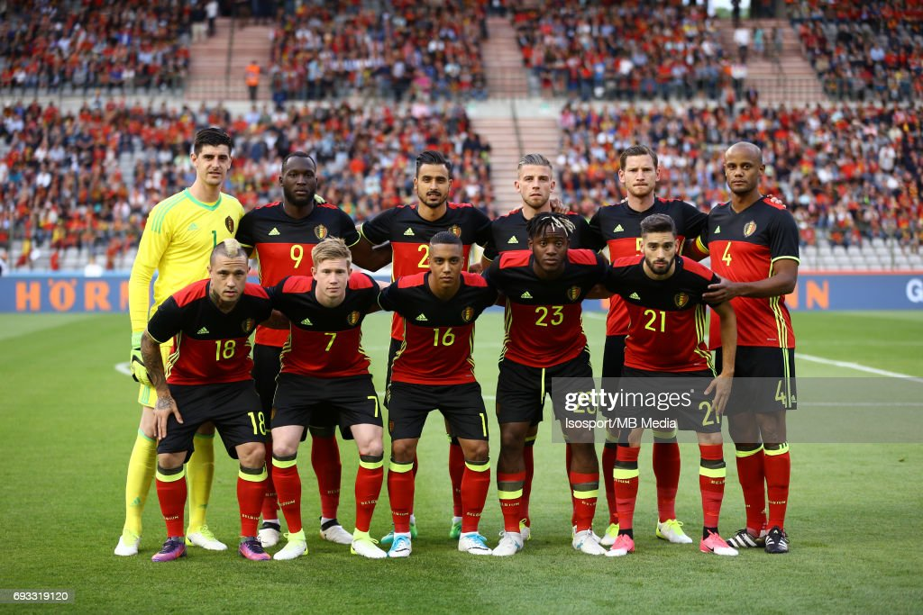 20170605 - Brussels , Belgium / International friendly game : Belgium v Czech Republic /'nBack row : Thibaut COURTOIS - Romelu LUKAKU - Nacer CHADLI - Toby ALDERWEIRELD - Jan VERTONGHEN - Vincent KOMPANY'nFront row : Radja NAINGGOLAN - Kevin DE BRUYNE - Youri TIELEMANS - Michy BATSHUAYI - Yannick CARRASCO'nPloegfoto Photo d'equipe Team Picture'nPicture by Vincent Van Doornick / Isosport