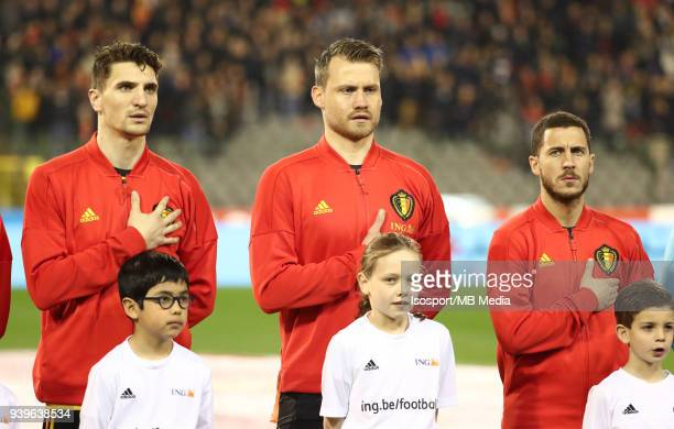20180327 Brussels Belgium / International Friendly Game Belgium v Saudi Arabia / 'nThomas MEUNIER Simon MIGNOLET Eden HAZARD'nPicture by Vincent Van...