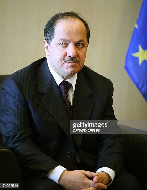 Iraqi Kurdish leader Massud Barzani waits 08 May 2007 before a bilateral meeting with EU foreign policy chief Javier Solana at EU headquarters in...