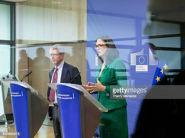 Brussels Belgium July 11 2014 Director of the Migration Policy Centre Philippe Fargues and the EU Home affairs Commissioner Cecilia MALMSTRÖM are...