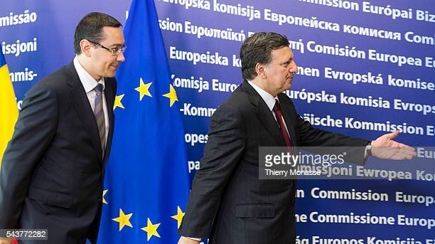 Brussels Belgium July 12 2012 Romanian Prime Minister VictorViorel PONTA is welcome by the President of the European Commission Jose Manuel BARROSO...