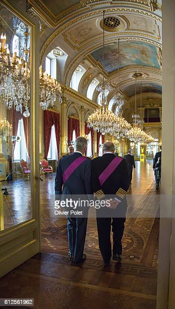 Brussels Belgium July 21 2013 Abbdicat ion of King Albert II at the Royal Palace of Brussels King Albert II walks with his son Phillipe after...