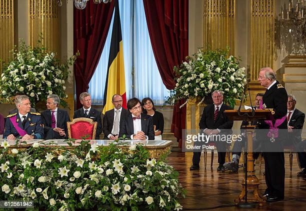 Brussels, Belgium, July 21, 2013 - Abdication of King Albert II - at the Royal Palace of Brussels. King Albert II speaks during his abdication...