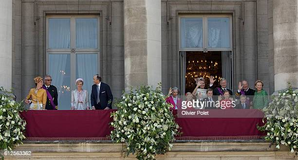 Brussels Belgium July 21 2013 At left Princess Claire Prince Laurent Princess Astrid and Prince Lorenz and at right Princess Eleonore Prince Gabriel...