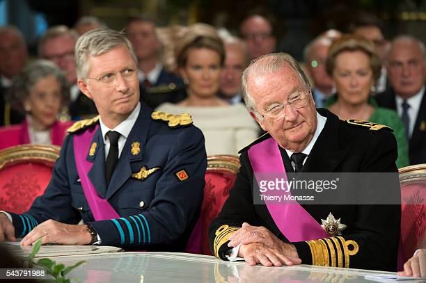 Brussels Belgium July 21 2013 Belgium Prince Philippe and Belgium King Albert II during the resignation ceremony © SPF Chancellerie du Premier...