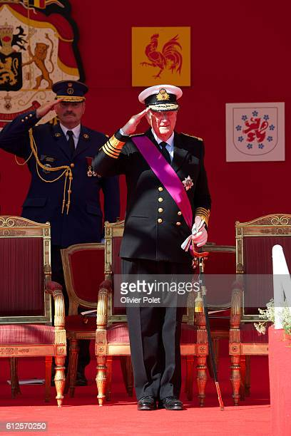 Brussels, Belgium, July 21, 2013 - King Albert II of Belgium salutes duing the military parade at the Royal Palace in Brussels, after he abdicated...