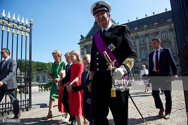 Brussels, Belgium, July 21, 2013 - King Philippe and Queen Mathilde of Belgium watch the military parade at the Royal Palace in Brussels, after King...