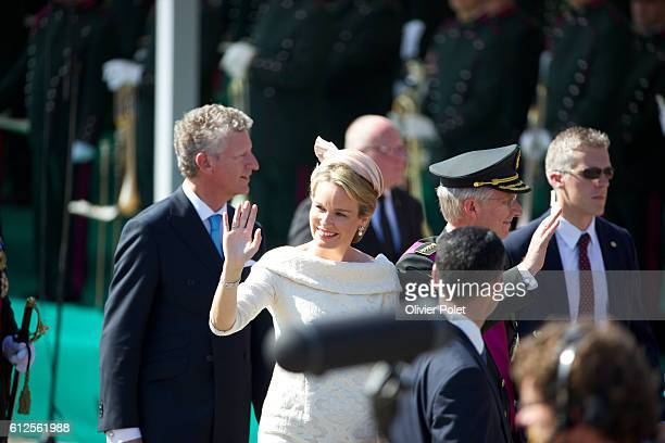Brussels Belgium July 21 2013 King Philippe and Queen Mathilde of Belgium arrive for the military parade at the Royal Palace in Brussels after King...