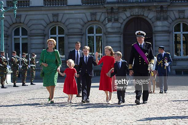 Brussels Belgium July 21 2013 King Philippe and Queen Mathilde of Belgium watch the military parade at the Royal Palace in Brussels after King Albert...