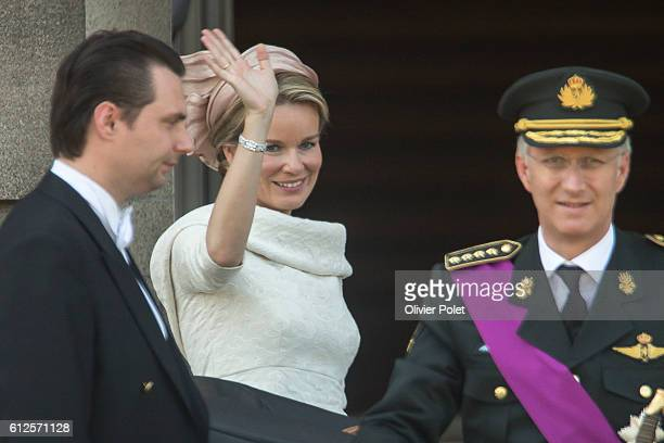 Brussels, Belgium, July 21, 2013 - King Philippe and Queen Mathilde of Belgium pictured after the King's oath taking ceremony on the Belgian National...