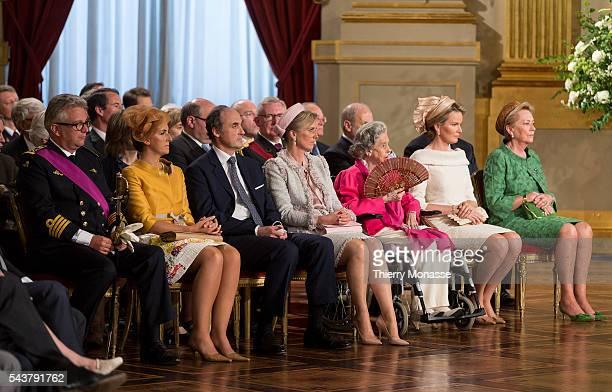 Brussels Belgium July 21 2013 Left to Right Prince Laurent of Belgium Princess Claire of Belgium Prince Lorenz of Belgium Archduke of AustriaEste...