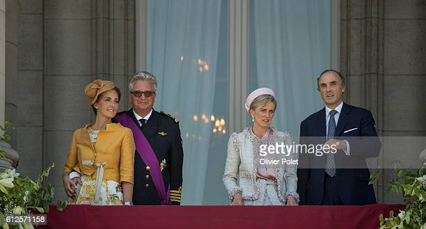 Brussels, Belgium, July 21, 2013 - Princess Claire, Prince Laurent, Princess Astrid, and Prince Lorenz, pictured during the appearance of the Royal...