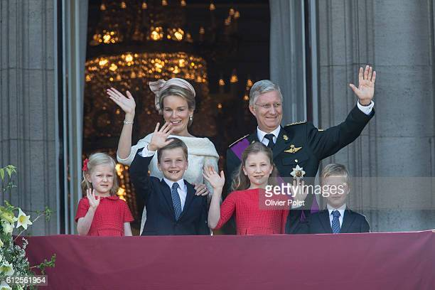Brussels Belgium July 21 2013 Princess Eleonore Prince Gabriel Queen Mathilde of Belgium Crown Princess Elisabeth of Belgium King Philippe Filip of...