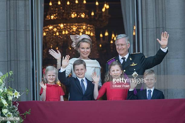 Brussels, Belgium, July 21, 2013 - Princess Eleonore, Prince Gabriel, Queen Mathilde of Belgium, Crown Princess Elisabeth of Belgium, King Philippe -...