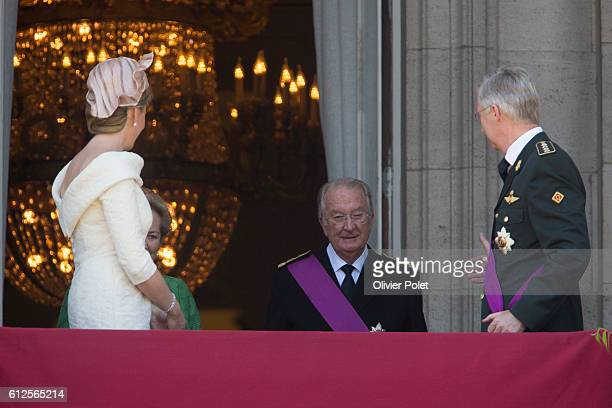 Brussels, Belgium, July 21, 2013 - Queen Mathilde of Belgium and King Philippe - Filip of Belgium, with former King Albert II, pictured during the...