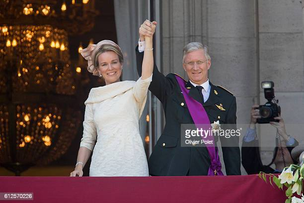 Brussels Belgium July 21 2013 Queen Mathilde of Belgium and King Philippe Filip of Belgium pictured during the appearance of the Royal Family on the...