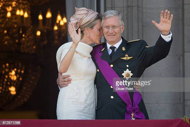 Brussels, Belgium, July 21, 2013 - Queen Mathilde of Belgium and King Philippe - Filip of Belgium pictured during the appearance of the Royal Family...