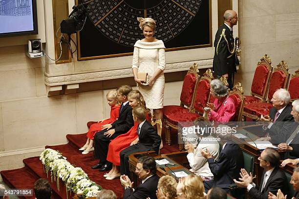 Brussels Belgium July 21 2013 Queen Mathilde Princess Leonore Prince Gabriel Princess Elisabeth Prince Emmanuel of Belgium attend the swornin of King...