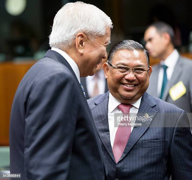 Brussels Belgium July 24 2014 Philippines Minister of Foreign Affairs Albert DEL ROSARIO is talking with the Burma Minister of Foreign Affairs WUNNA...