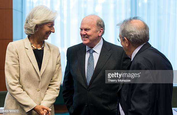 Brussels Belgium July 8 2013 Managing Director of the International Monetary Fund Christine LAGARDE is talking with the Irish finance Minister...