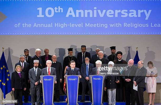 Brussels Belgium June 10 2014 Press briefing by EU leaders and representatives and leaders of all religions during a meeting at the EU Commission...