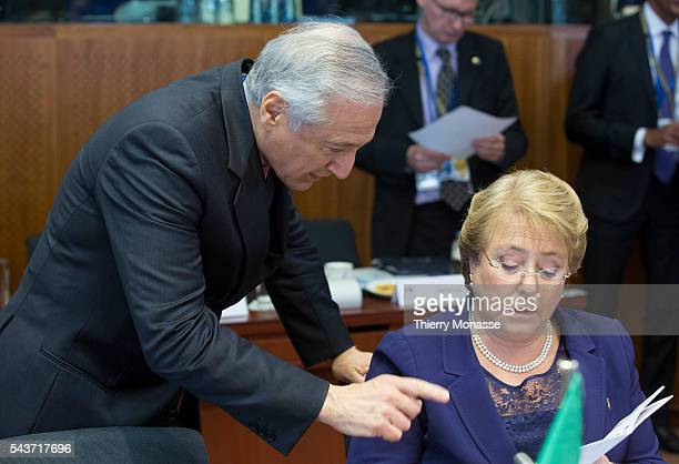 Brussels Belgium June 10 2015 Chile President Verónica Michelle Bachelet Jeria is looking at papers during an EUCELAC summit in the EU Council...