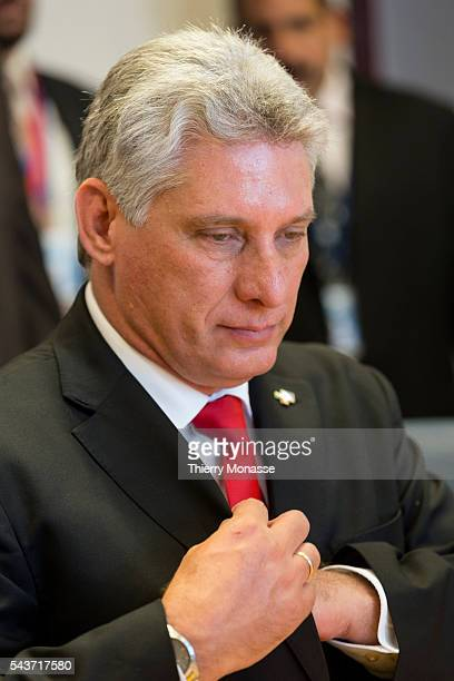 Brussels Belgium June 10 2015 First Vice President of the Council of State of Cuba Miguel DíazCanel Bermúdez is waiting prior to a bilateral meeting...