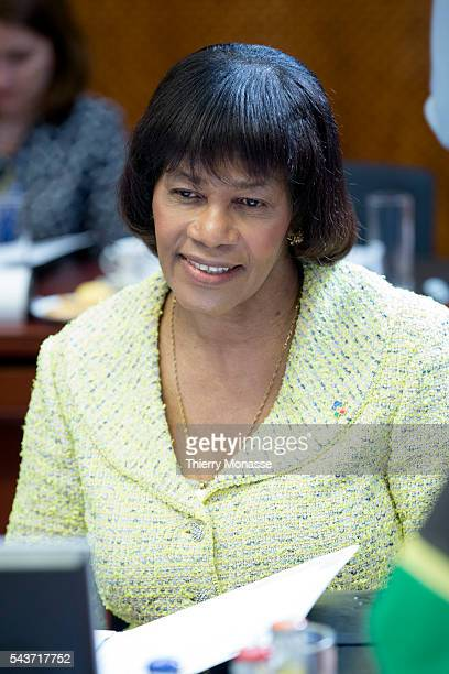 Brussels Belgium June 10 2015 Prime Minister of Jamaica Portia Lucretia SimpsonMiller is waiting during an EUCELAC summit in the EU Council...