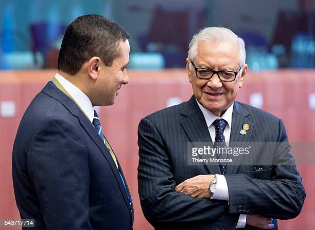 Brussels Belgium June 11 2015 Vice President of Guatemala Alejandro Maldonado Aguirre is talking with a staff member during the second day of an...