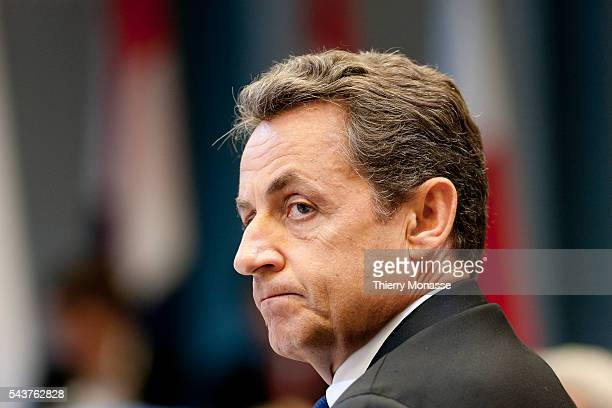 Brussels, Belgium, June 14; 2011...The French President Nicolas SARKOZY listens to the speach of the President of the European Commission during a...