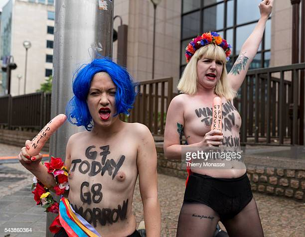 Brussels, Belgium, June 4, 2014. -- Femen activist perform during a protest ahead of the G7 Summit, in front the EU Council headquarters.