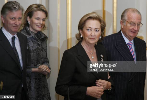 King Albert II and Queen Paola of Belgium followed by Princess Mathilde and Prince Philippe arrived for a reception 18 November 2007 in Brussels...